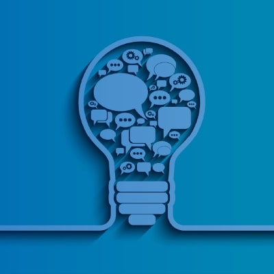 blue graphic of a lightbulb with speech bubbles inside bulb