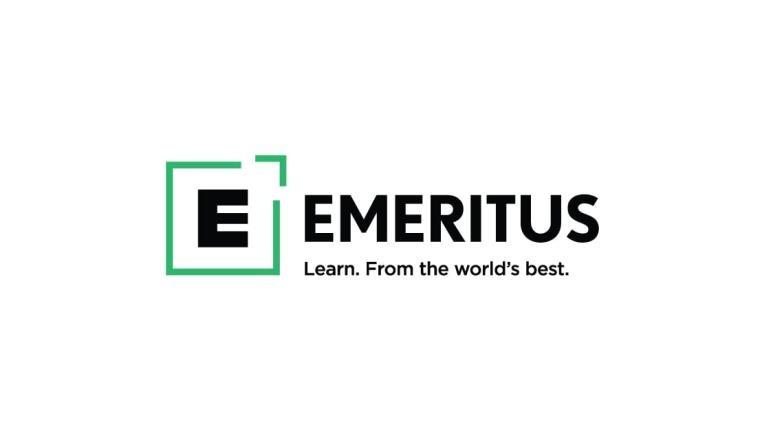 Emeritus colored logo with tagline