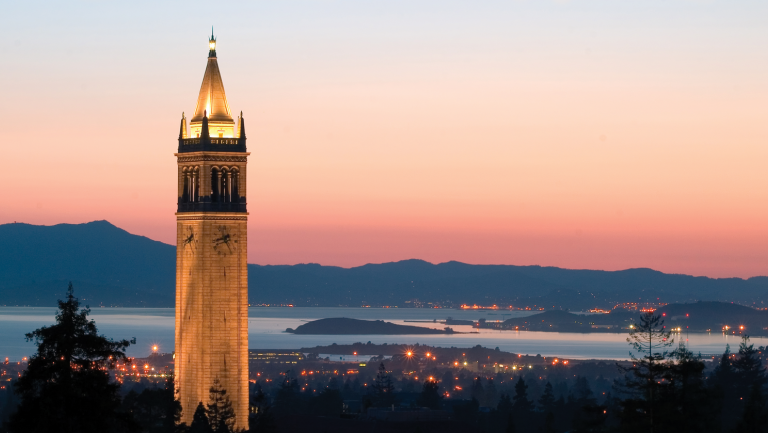 view of the Berkeley campanile with the sunset in the background
