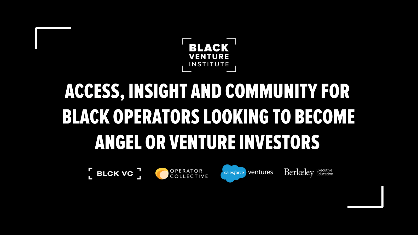 Black Venture Institute text graphic to promote new program