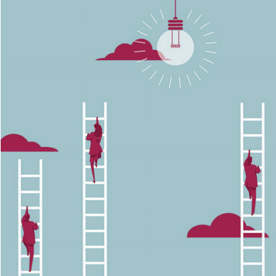 graphic of three different people climbing ladders in the sky