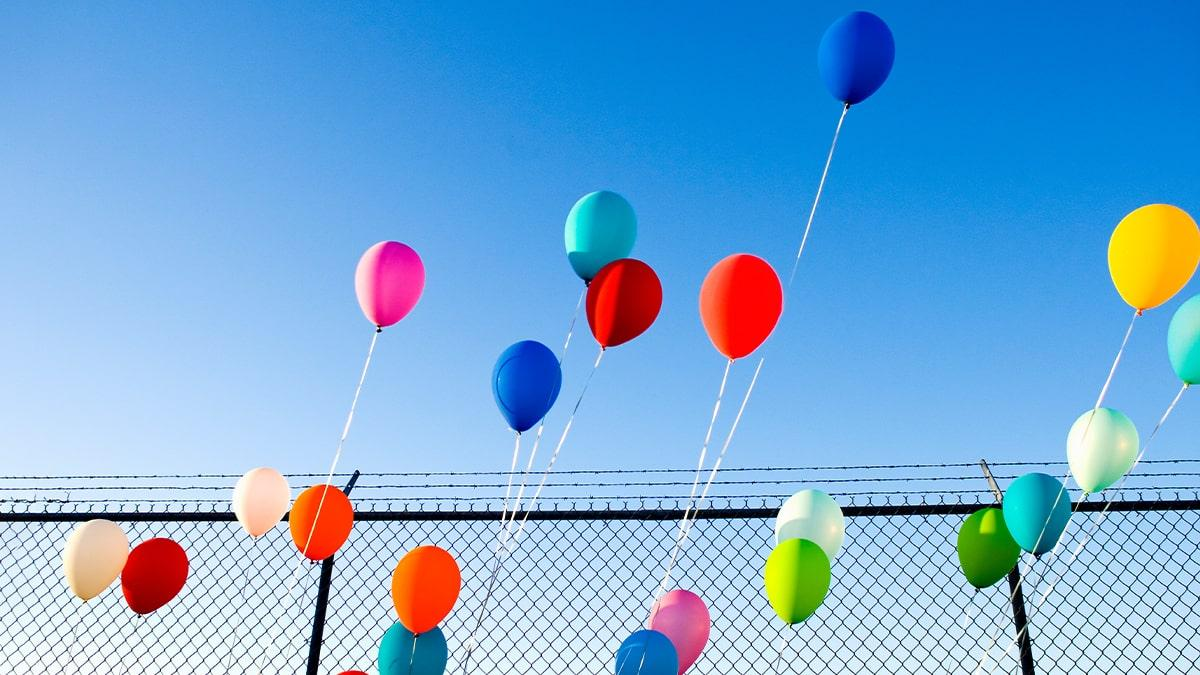 Balloons hanging in the sky