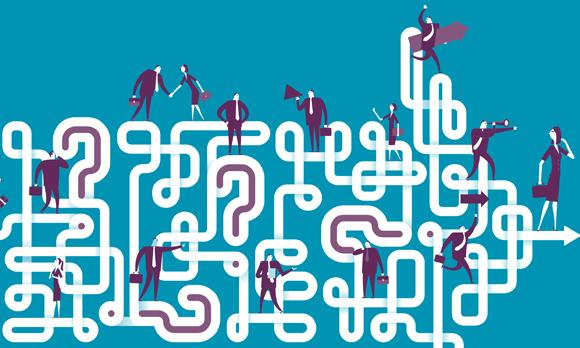 graphic of different business people standing over a squiggly line