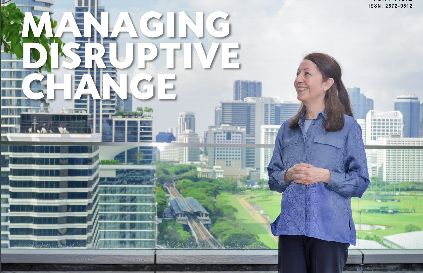 Homa Bahrami on a building balcony with text overlay saying Managing Disruptive Change