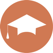 orange and white icon of a grad cap