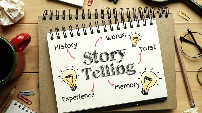 graphic displaying showing storytelling elements