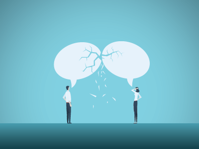 Two people in business attire standing facing each other with cracked speech bubbles above them in front of a blue background